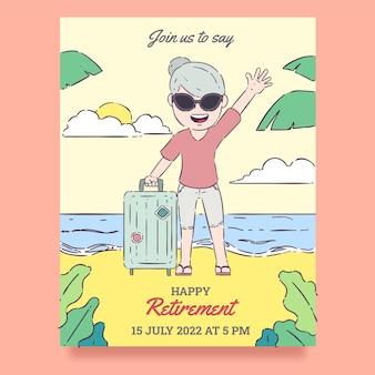 手描きの創造的な退職グリーティングカード