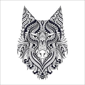 손으로 그린 크리 에이 티브 늑대 로고 그림