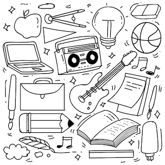 Hand drawn of creativity in doodle style isolated on white background vector doodle set