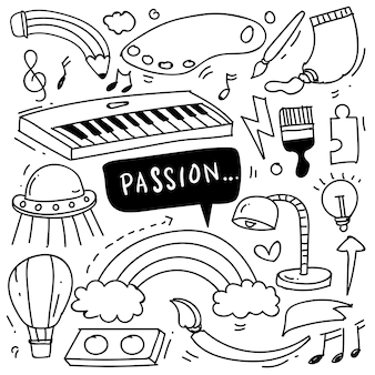Hand drawn of creativity in doodle style isolated on white background vector hand drawn set