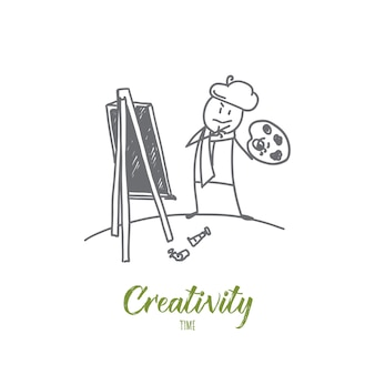 Hand drawn creativity time concept sketch illustration