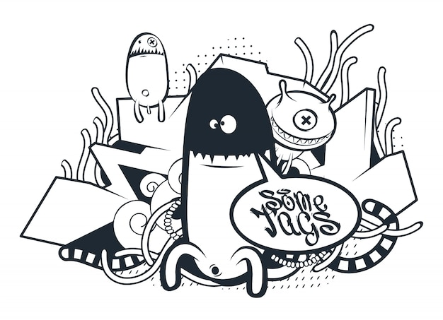 Hand drawn creatures in graffiti style