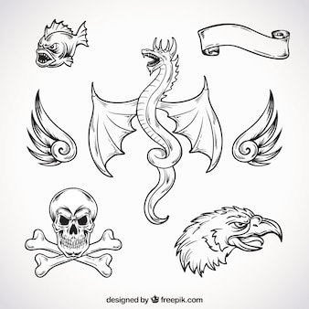 Hand drawn creatures tattoos