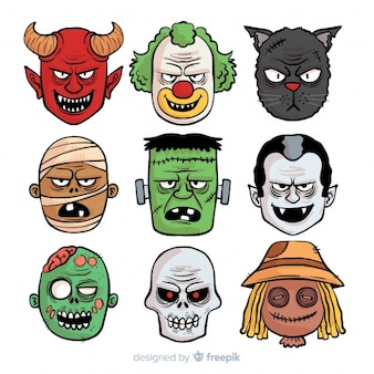 Hand drawn creepy halloween character collection