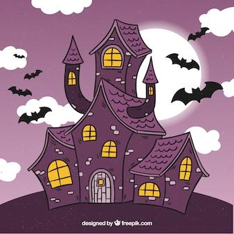 Hand drawn creepy house