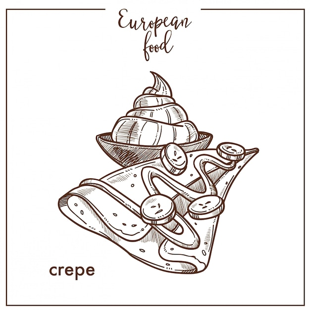 Hand drawn crepe and ice cream