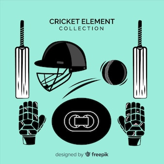 Hand drawn cricket element collection