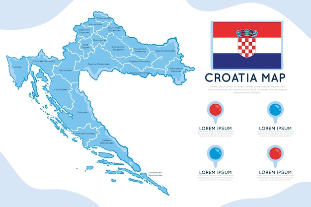 Mappa di croazia disegnata a mano infografica
