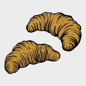Ручной обращается круассан в стиле гравировки. хлеб пекарня коллекция свежих продуктов.
