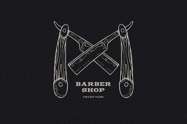 Рисованной скрещенные опасные бритвы. винтажная этикетка, нарисованная от руки на тему парикмахерской и бритья.