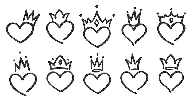 Hand drawn crowned hearts. doodle princess, king and queen crown on heart, sketch love crowns