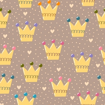 Hand drawn crowns seamless pattern.
