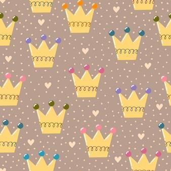 Hand drawn crowns seamless pattern.