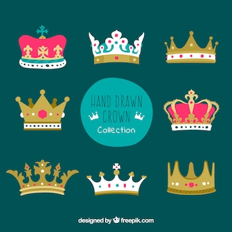 Hand-drawn crowns with variety of designs