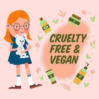 손으로 그린 잔인성 무료 및 채식주의 자 그림