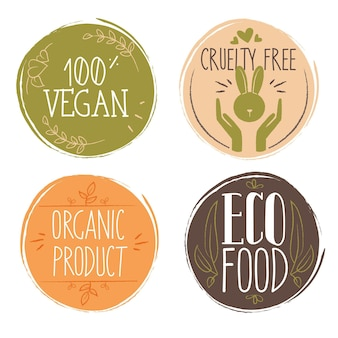 Hand drawn cruelty free badge collection