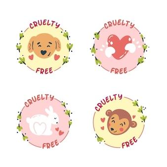 Collezione di badge cruelty free disegnata a mano