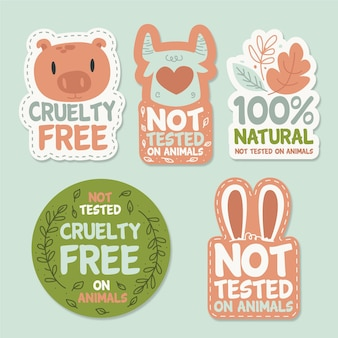 Collezione di badge cruelty free disegnati a mano