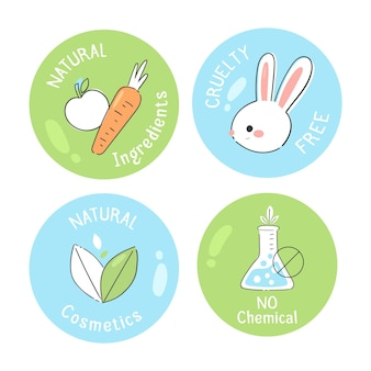 Hand drawn cruelty-free badge collection