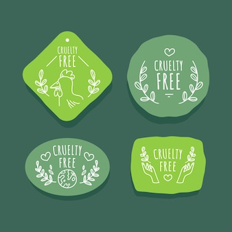 Set di badge senza crudeltà disegnati a mano