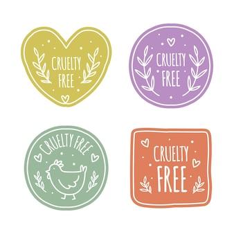 Hand drawn cruelty free badge set