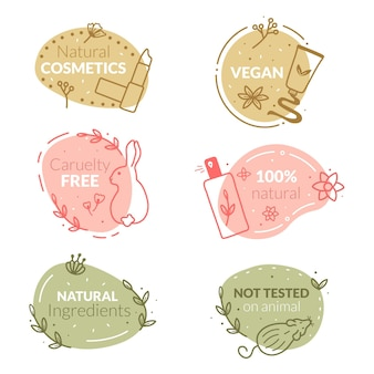 Set di badge cruelty free disegnati a mano