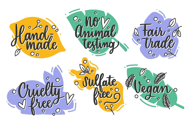 Hand drawn cruelty free badges pack