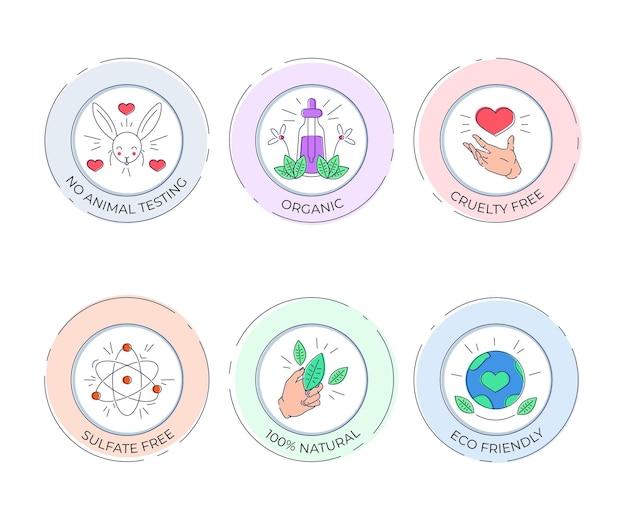 Pacchetto di badge cruelty free disegnati a mano