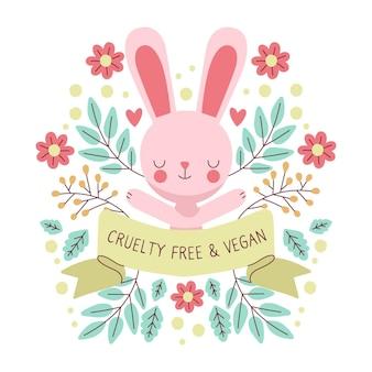 Hand drawn cruelty free and vegan concept illustration