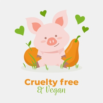 Hand drawn cruelty free and vegan concept with pig
