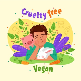 Hand drawn cruelty free and vegan concept