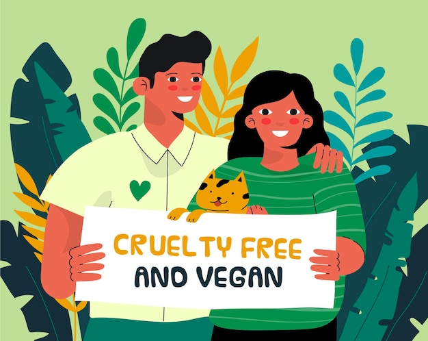 Hand drawn cruelty free and vegan illustration with man and woman