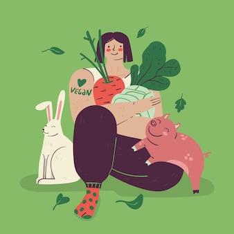 Illustrazione cruelty free e vegana disegnata a mano con donna e animali