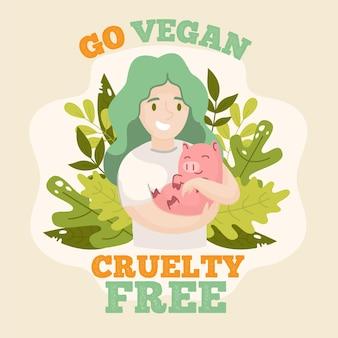 Hand-drawn cruelty free and vegan illustration