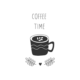 Hand-drawn cup of coffee cartoon style. black and white illustration.