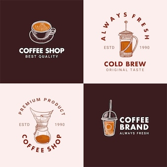 Hand drawn cup, french press, chemex, dripper, take away cup logo illustration