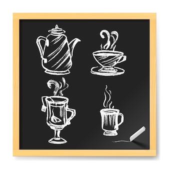 手描きのコーヒーと紅茶のカップ。黒板のカフェメニュー