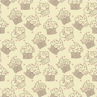 Hand drawn cupcake pattern with dots