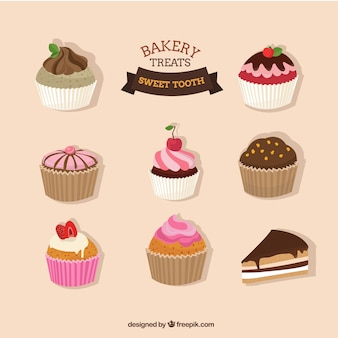 Hand drawn cupcakes pack