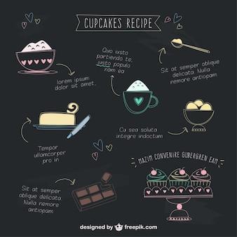 Hand drawn cupcakes recipe Free Vector