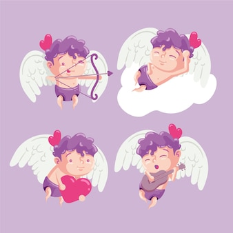 Hand-drawn cupid character collection design