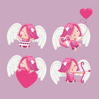 Hand-drawn cupid character collection illustrated