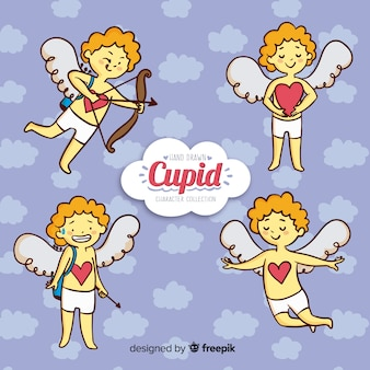 Hand drawn cupid character collection