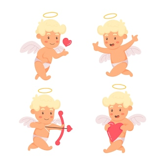 Hand drawn cupid character pack