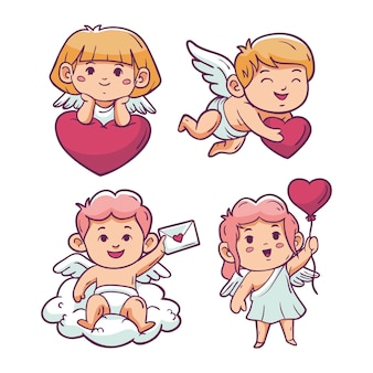 Hand drawn cupid character set