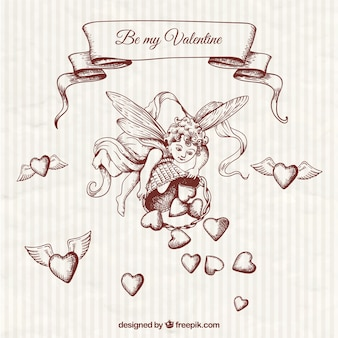 Hand drawn cupid illustration
