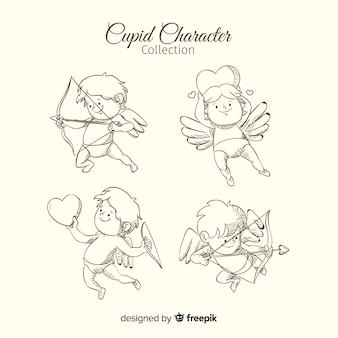 Hand drawn cupid set