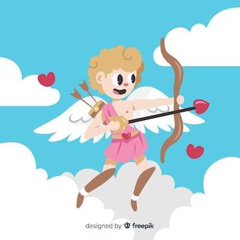 Hand drawn cupid valentine background