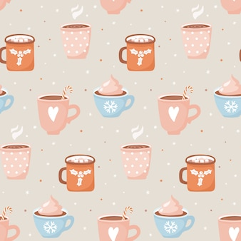 Hand drawn cups with cocoa and marshmallows seamless pattern.
