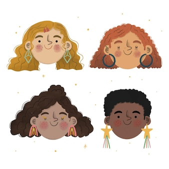 Hand-drawn curly hair types illustration